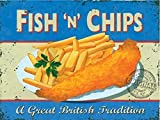 Fish n Chips. Food, Chippy, Fish & Chips. A Great British Tradition Meal. Retro Old Vintage advert for home, kitchen, pub, cafe, restaurant, chippy / chip shop. Small Metal/Steel Wall Sign