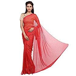 Aradhya Enterprises Women's Chiffon Saree-AE3311_Red