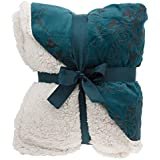 """Floral Embossed Sherpa Throw Blanket 50"""" x 60"""" Reversible Textured Fuzzy Soft Teal"""