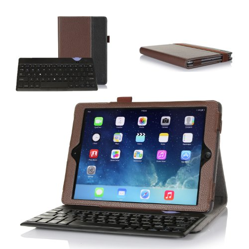 ProCase Apple iPad Air Keyboard Case - Premium Muti-angle Stand Leather Smart Cover with Ultra Slim Magnetically Detachable Bluetooth Keyboard (4mm) for iPad Air / iPad 5, bonus Stylus Pen included (Brown/Black)