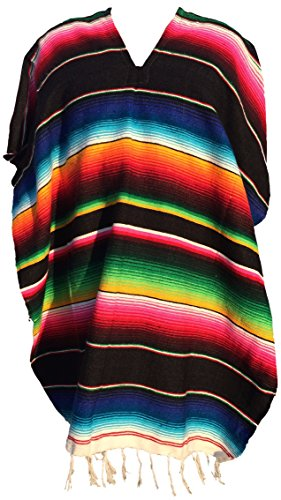 [Authentic Mexican Poncho (Assorted Colors) (Black)] (Pancho Villa Costumes)