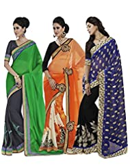 Stunning Multicolor Combo Pack Of 3 Embroidered Sarees