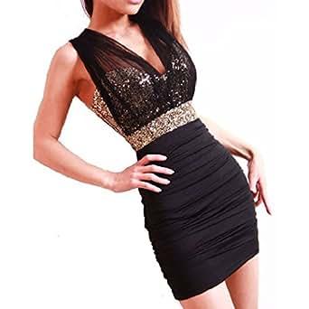 Femmes noires sexy robe de cocktail de soirée dos nu Robe à paillettes Mini robe de partie de robe de jupe