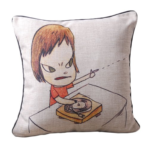 Yoshitomo Nara'S Character Dj Girl Print Decorative Pillow Covers Black Piped Edge Linen Throw Pillow Covers 45Cmx45Cm front-869714