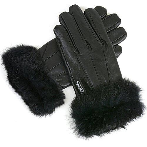 Womens Dressy Leather Gloves Rabbit Fur Trim Warm Thin Thermal Lining Insulation 2XL Genuine Leather Gauntlet Gloves