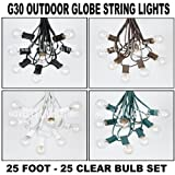 25 Foot Clear G30 Outdoor Lighting Patio Globe String Lights - Brown Wire - 25 Bulbs
