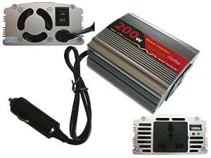 Convertisseur de Tension 12V en 220V (inverseur AC - DC) - PUISSANCE 200 WATTS (400W en Crête) - Profitez d'une prise secteur en 220V dans votre automobile ! - Branchement sur prise allume cigare - BOITIER ALUMINIUM