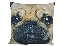40cmx 40cm Soft Pollyester Pug Dog Cushion (Design on One Side Only) Decorative