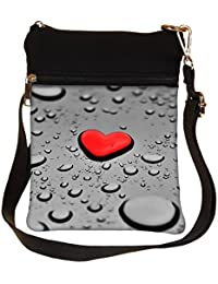 Snoogg Red Drop Heart Cross Body Tote Bag / Shoulder Sling Carry Bag
