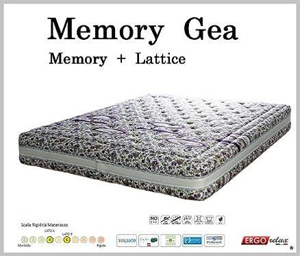 Materasso Memory Mod. Gea Un lato in Memory Foam e un lato in Lattice Fodera Opera Altezza Cm. 22 - Ergorelax - 80 cm x 200 cm