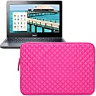 Evecase Diamond Foam Splash & Shock Resistant Neoprene Sleeve Case Bag for Acer C720P / C720 / C710 / C7 11.6-Inch Series ChromeBook Laptop - Hot Pink