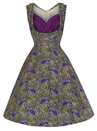 Lindy Bop 'Ophelia' Romantically Enchanting Floral Print Swing Dress (5Xl, Green Floral)