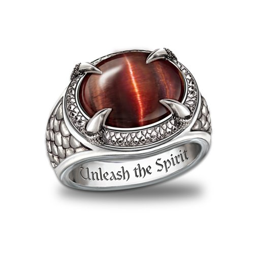 Men's Stainless Steel Ring: Dragon Eye by The Bradford Exchange