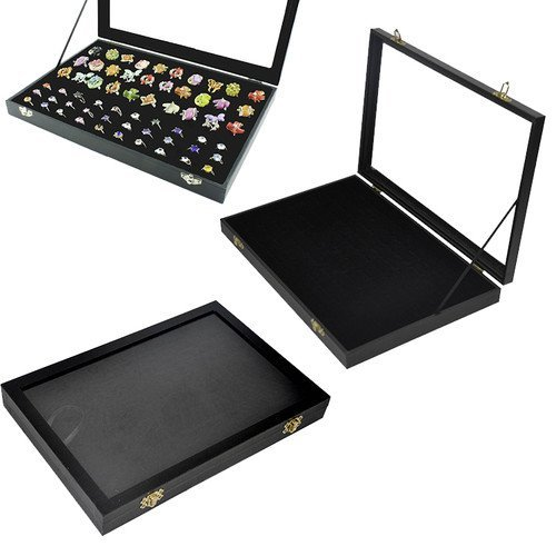 100-Slot Jewelry Ring Display Organizer Case Tray Holder Earring Storage Box