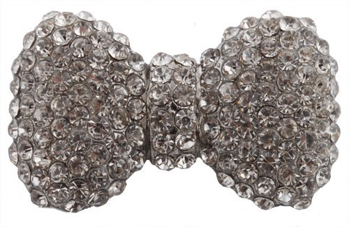 Silver  Clear Iced Out Bow Tie Brooch & Pin