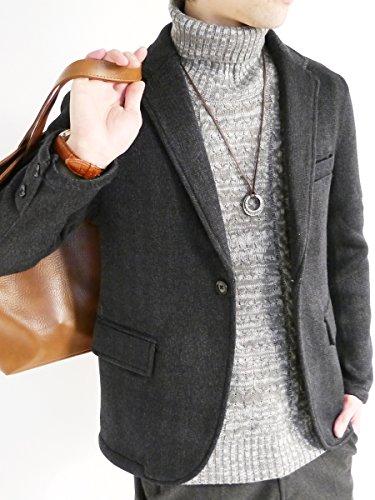 (モノマート) MONO-MART 裏起毛 テーラード ジャケット ブレザー ニット 暖かい JKT 起毛 デザイナーズ 杢MIX メンズ ブラック Mサイズ