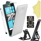 BAAS® Coque Nokia Lumia 520 Blanc Etui Cuir Clapet Housse + Film de Protection d'Ecran + Stylet Pour Ecran Tactile Capacitif