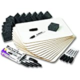 Charles Leonard Dry Erase Lapboard Class Pack, Includes 12 each of Whiteboards, 2 Inch Felt Erasers and Black Dry Erase Markers  (35036)