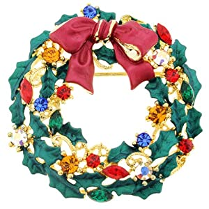 Christmas Bow Wreath Pin Brooch