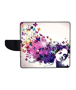 KolorEdge Printed Flip Cover For HTC Desire 616 Multicolor -(50KeMLogo12405HTC616)
