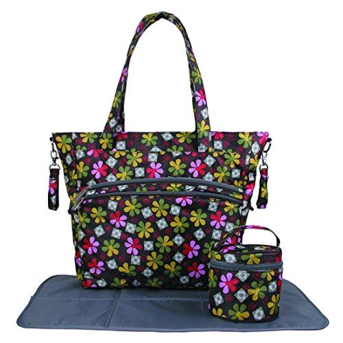 ECOSUSI Diaper Bag Multicolor Floral Design Nappy Bag