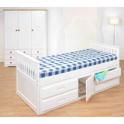 Cloudseller 3ft Single Captain Cabin Storage Solid Pine Wooden Bed Bedframe - White & Pine Finish