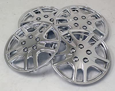 TuningPros WSC-523C14 Chrome Hubcaps Wheel Skin Cover 14-Inches Silver Set of 4