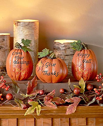 set of 3 inspirational Pumpkins