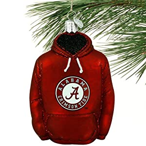 NCAA Alabama Crimson Tide Glass Hoodie Ornament from Football Fanatics