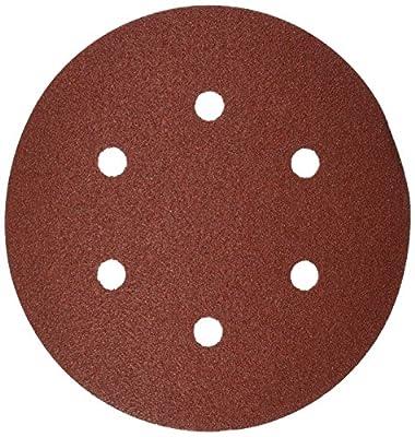 Bosch SR6R082 Random Orbit Sander Hook and Loop 6 Hole Disc 6-Inch 80 Grit Sand Paper, Red, 25-Pack