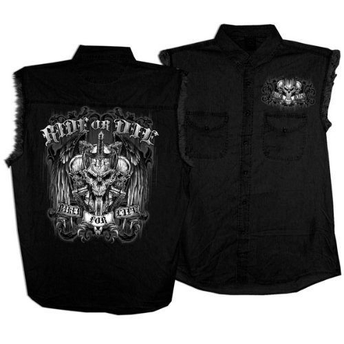 Hot Leathers Ride or Die Skull Sleeveless Shirt (Black, XXX-Large)