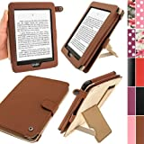 IGadgitz Brown PU 'Bi-View' Leather Case Cover for Amazon Kindle Paperwhite 2012 & 2013 versions 3G 6 Display Wi-Fi 2GB. With Sleep/Wake Function & Integrated Hand Strap