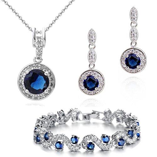 crystalline parure collier boucles d oreilles bracelet or blanc 18 carats et cristaux swarovski. Black Bedroom Furniture Sets. Home Design Ideas