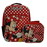 """Disney Minnie Mouse 16"""" Full Size Backpack with Detachable Lunch Bag"""