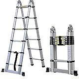 Cravog 3.8m(12.5FT) EN131Telescopic Multipurpose Ladder,Foldable Extendable Aluminium A Frame Ladder