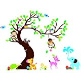"The Owl Monkey Paradise"" Lovely Blooms Zoo Nursery Childrens Room Decorative Wall Stickers Kids Vinyl Sticker..."