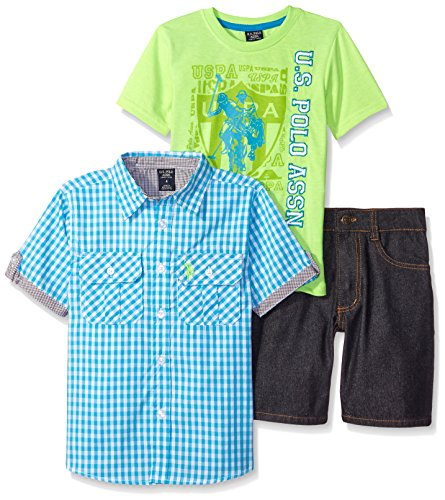 U.S. Polo Assn. Little Boys 3 Piece Gingham Woven Shirt, Graphic T-Shirt and Denim Short, Aqua/Lime/Black Denim, 5