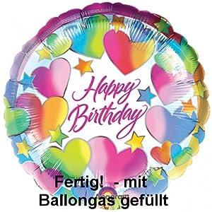 Folienballon Helium Happy Birthday mit Herzen Gas gefüllt 45cm Ballons