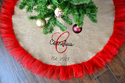 Burlap and Tulle Christmas tree skirt