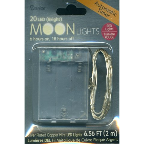 Moon Lights - 20 Red Led Lights On Silver Plated Wire - Automatic Timer