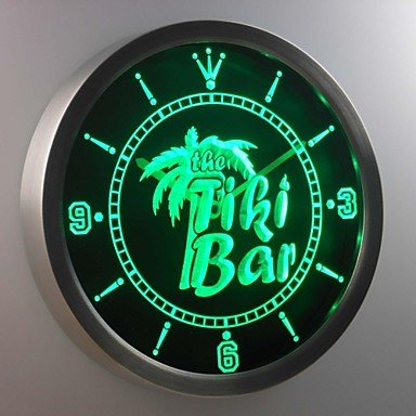 Nc0385 The Tiki Bar Palm Tree Beer Neon Sign Led Wall Clock