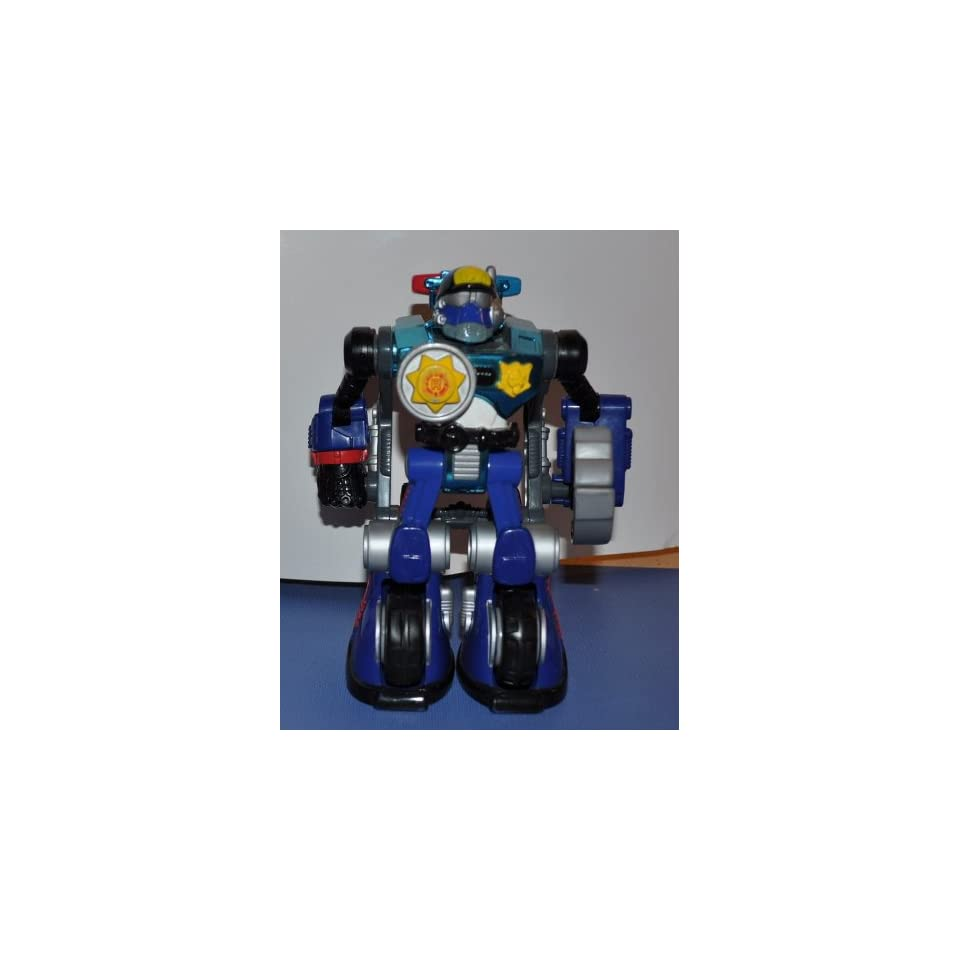 Clamp Down Police Robot Robo Team Backpack Police Officer Rescue Hero   Fisher Price Action Figure Non Violent Doll Toy Rescue Heroes Police Man