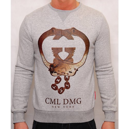 Criminal Damage Mens Grey Jumper Handcuff Crew Neck Elcaticicated Chest Print Grey Small