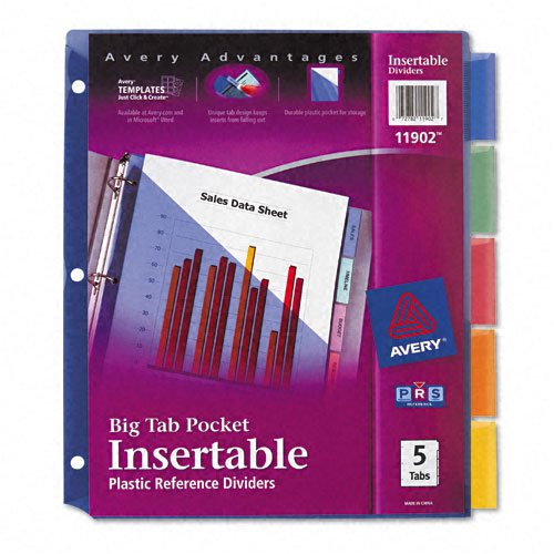 Avery : Worksaver Big Tab Plastic Dividers, Slash Pocket, Five-Tab, Letter, Assorted -:- Sold As 2 Packs Of - 5 - / - Total Of 10 Each