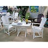 CASA BRUNO Essgruppe Palm Coast (2 Stühle mit Armlehne + Tisch 94x94 cm) aus recyceltem Polywood® HDPE Kunststoff, weiss - kompromisslos wetterfest