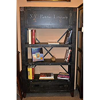 Crafters and Weavers Rustic Solid Wood Graffiti Bookshelf / Cabinet