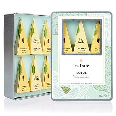 Tea Forté LOTUS Medium Tin Sampler Gift Assortment with 6 Hnadcrafted Pyramid Tea Infusers - Black Tea, Green Tea, Oolong Tea, White Tea, Herbal Tea