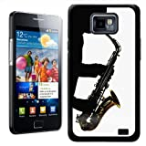 Fancy A Snuggle Solo Silhouette of One Man Playing Saxaphone Design Hard Case Clip On Back Cover for Samsung Galaxy S2 i9100