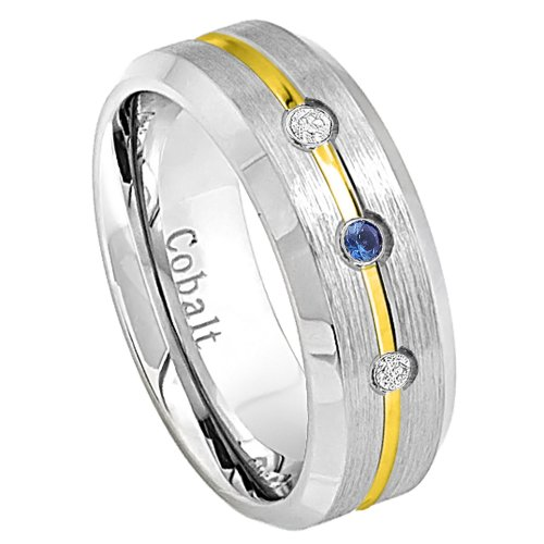 0.15Ct Blue Sapphire And White Diamond 8Mm Flat Brushed Finish Double Grooved Black Three-Stone Titanium Comfort Fit Wedding Band For Her And For Him.