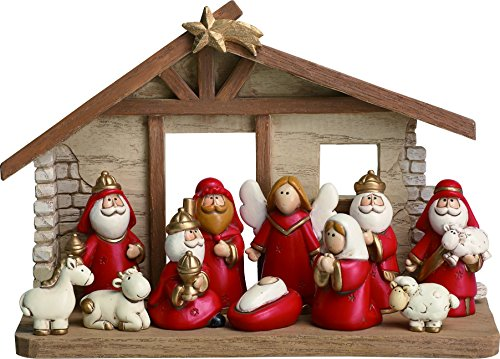 Charming Red And Gold Christmas Nativity Set Of 11